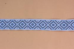 Krojová stuha (š. 2,8 cm) - modro-biela #1