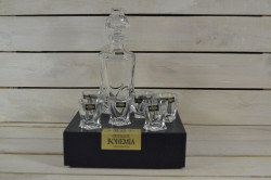 Kryštáľová sada - fľaša+6 pohárov na LIKÉR (BOHEMIA)