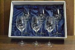 Kryštáľové poháre na BIELE VÍNO so swarovski kryštáľmi v saténovom balení 2.