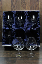 Kryštáľové poháre na BRANDY so swarovski kryštáľmi v saténovom balení