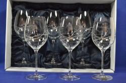 Kryštáľové poháre na č. víno so swarovski kryš.červené v darč. balení so saténom (6 ks)