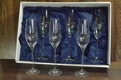 Kryštáľové poháre na ŠAMPANSKÉ so swarovski kryštáľmi v saténovom balení 2.