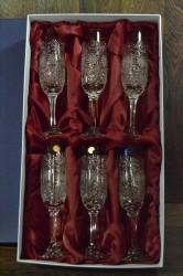 Kryštáľové poháre na SAMPANSKÉ v darčekovom balení, SLOVAK CRYSTAL, brúsenie: 704