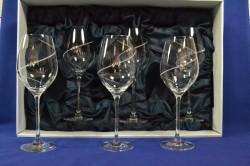 Kryštáľové poháre na víno biele v darčekovom balení so saténom (6 ks)