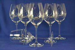 Kryštáľové poháre na VÍNO so swarovski kryštáľmi (6 ks) 470 ml