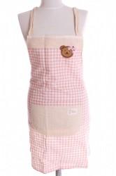 Kuchyňská zástera kockovaná - ružovobiela