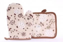 Kuchyňské rukavice s podložkou a s kvetmi- béžovohnedé