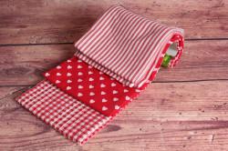 Kuchynské utierky (3ks) - pásiky a srdiečká (45x70 cm) - červeno-biele