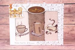 Kuchynské utierky v darčekovom balení ESPRESSO (3 ks 30x50 cm)
