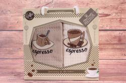 Kuchynské utierky v darčekovom balení METEOR - COFFEE 4 (2 ks 40x60 cm)