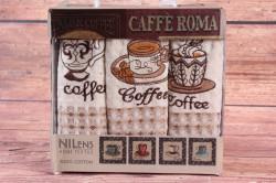 Kuchynské utierky v darčekovom balení NILENS - CAFE ROMA 2 (3 ks 35x50 cm)