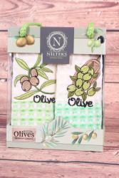 Kuchynské utierky v darčekovom balení OLIVE 1. (2 ks 35x50 cm)