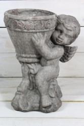 Kvetináč s ANJELIKOM - sivý (v. 28 cm)