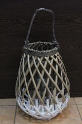 Lampáš prútený s úchytkou bielo-hnedá (v. 36 cm)