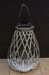 Lampáš prútený s úchytkou bielo-hnedá (v. 47 cm)