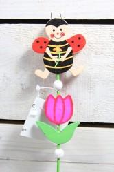 LIENKA na paličke - ružový tulipán (v. 34,5 cm)