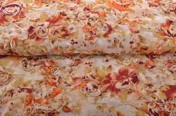 Maslová látka s oranžovými a bordovými kvetmi - Viola (m) - š.140