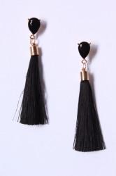 Náušnice so strapcami a s čiernym očkom - čierne 2. (9 cm)
