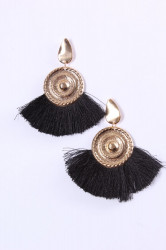 Náušnice so strapcami - čierne (8 cm)
