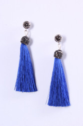 Náušnice so strapcami - čierno-modré (8,5 cm)