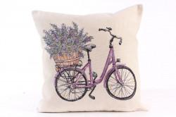 Návliečka na vankúš - bicykel a levander -fialovo-béžová (43x43 cm)