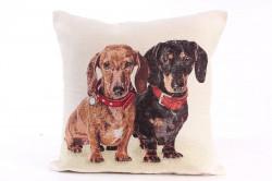 Návliečka na vankúš - čierny a hnedý pes - hnedo-béžová (43x43 cm)