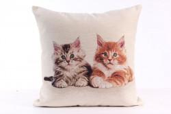 Návliečka na vankúš - mačičky - hnedo-béžová (43x43 cm)