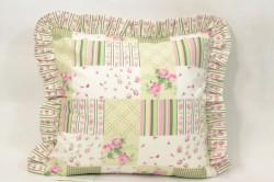 Obliečka na vankúš bavlnená - ružovo-zelená (40x40 cm)