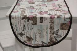 Obrus bavlnené oválny (90x40 cm) - tyrkysovo-hnedý