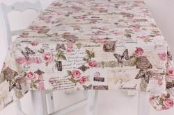 Obrus bavlnený (12x140 cm) - smotanovo-ružový