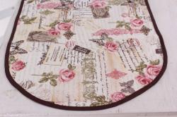Obrus bavlnený oválny (90x40 cm) - smotanovo-tmavohnedý