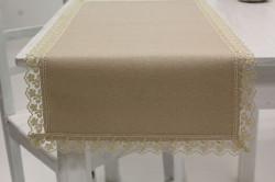 Obrus bavlnený s krajkou 1. - béžový (80x38 cm)