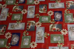 Obrus PVC vianočný OBRAZ A KVETY - červený (š. 140 cm)