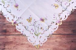 Obrus vyšívaný FIALKA - fialovo-biely (85x85 cm) #1