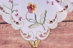 Obrus vyšívaný FIALKA - ružovo-biely (85x85 cm) #1