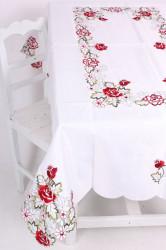 Obrus vyšívaný RUŽE (135x178 cm) - červeno-biely #1