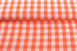 Oranžovo-biela kockovaná látka (m) - š. 150