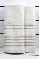 Osuška s pásikmi (69x129 cm) - maslová