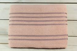 Osuška s viacerými pásikmi (70x135 cm) - staroružová
