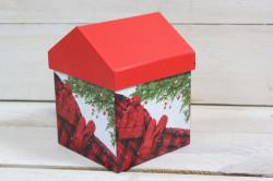 Ozdobná krabica domček s vianočným motívom 1. (10x13x10 cm)