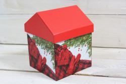 Ozdobná krabica domček s vianočným motívom 1. (11x15x11 cm)