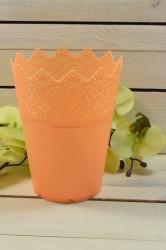 Ozdobný črepník z plastu (v. 18,5 cm, priemer 14 cm) - oranžový