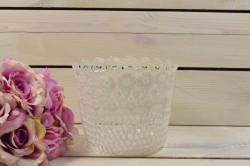 Ozdobný kvetináč s háčkovaným vzorom - krémový (12x14 cm)