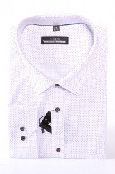 Pánska bodkovaná košeľa MARTEX CLASSIC - hnedo-biela
