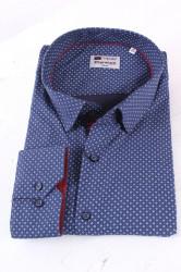 Pánska elastická košeľa PREMIUM SILVER s bielym vzorom - modrá