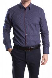 Pánska elastická košeľa PREMIUM SILVER s bielym vzorom SLIM FIT - tmavomodrá