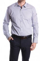 Pánska elastická košeľa PREMIUM SILVER s modrým vzorom SLIM FIT - biela