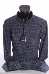 Pánska elastická košeľa VZOR 02. - tmavomodrá