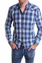 Pánska elastická košeľa VZOR 9. - modrá
