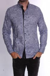 Pánska elastická košeľa vzorovaná s bordovým lemom (20137) - modro-biela